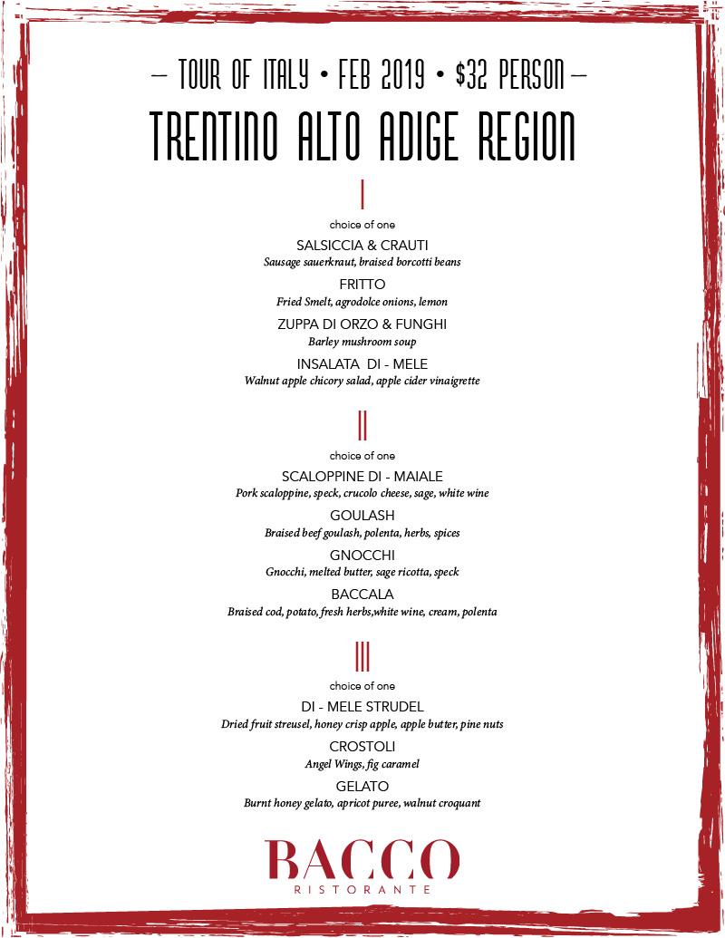 Feb  2019 Tour of Italy: Trentino Alto Adige – Bacco Ristorante